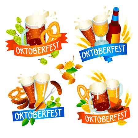 Oktoberfest banner set. Isometric set of Oktoberfest banner for web design isolated on white background