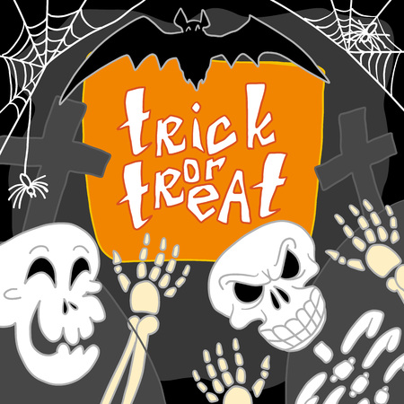Skull trick of treat concept background. Hand drawn illustration of skull trick of treat vector concept background for web design