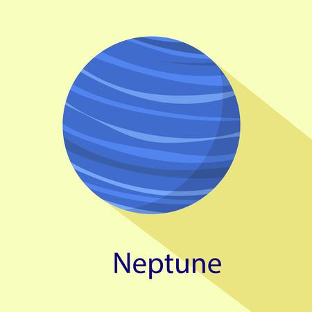 Neptune planet icon. Flat illustration of neptune planet vector icon for web design Vecteurs