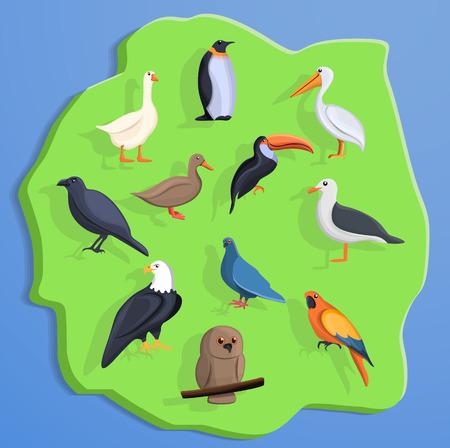 Bird land concept background. Cartoon illustration of bird land vector concept background for web design