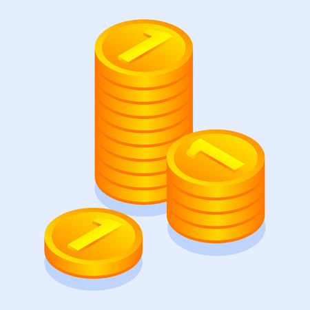 Gold money coins icon. Isometric of gold money coins vector icon for web design isolated Illustration