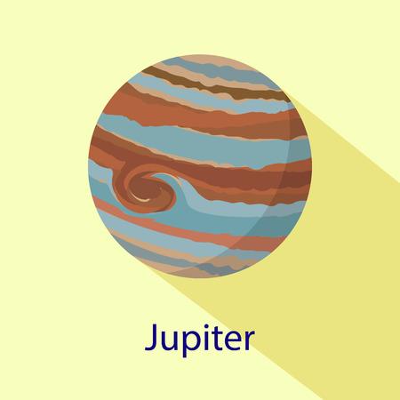 Jupiter planet icon. Flat illustration of jupiter planet vector icon for web design