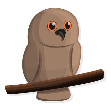 Brown owl icon. Cartoon of brown owl vector icon for web design isolated Illusztráció