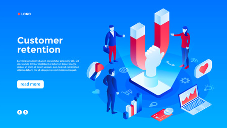Client retention concept background. Isometric illustration of client retention vector concept background for web design 向量圖像