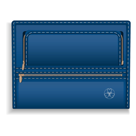 Blue leather folder icon. Realistic illustration of blue leather folder vector icon for web design