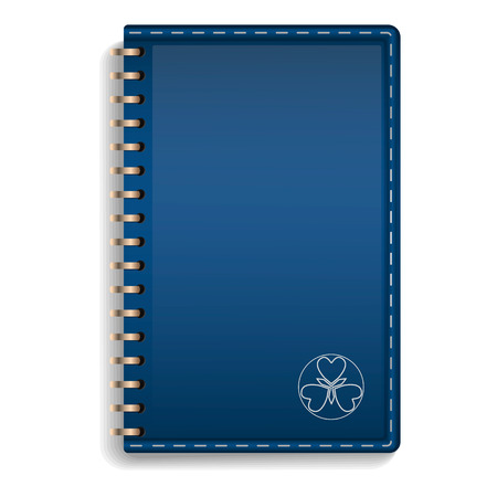 Leather notebook icon. Realistic illustration of leather notebook vector icon for web design