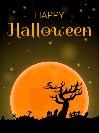 Happy halloween full moon concept background. Cartoon illustration of happy halloween full moon vector concept background for web design