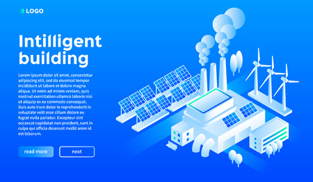 Fond de concept de bâtiment intelligent. Illustration isométrique de l'arrière-plan du concept de vecteur de bâtiment intelligent pour la conception de sites Web
