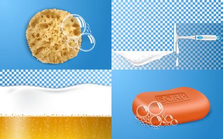 Schaumeffekt-Banner-Set. Realistische Darstellung des Vektorbanners mit Schaumeffekt für Webdesign Vektorgrafik