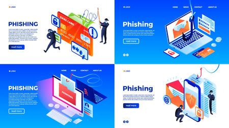 Conjunto de banners de phishing. Conjunto isométrico de banner de vector de phishing para diseño web