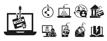 Phishing icon set. Simple set of phishing vector icons for web design on white background Stock Illustratie