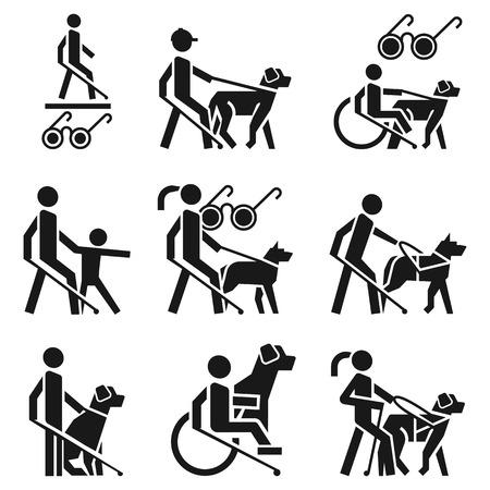 Insieme dell'icona di uomo cieco. Semplice set di icone vettoriali uomo cieco per il web design su sfondo bianco