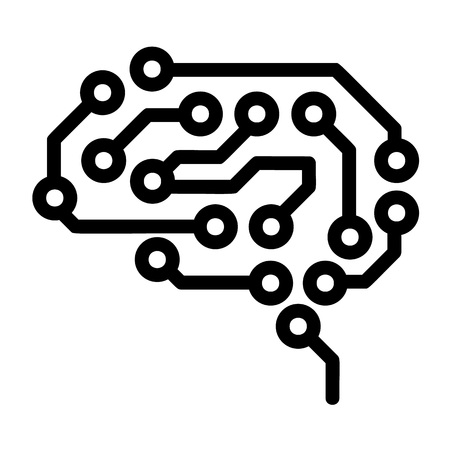 Future brain icon. Outline future brain icon for web design isolated on white background