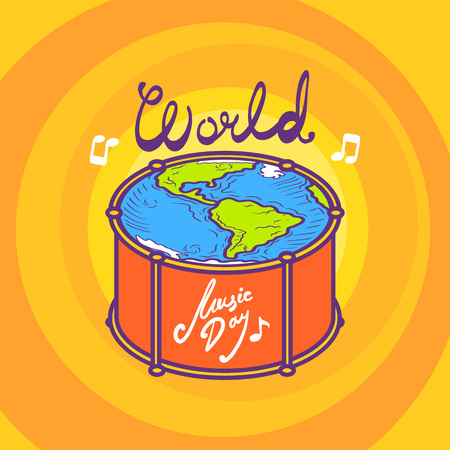 Drum music day concept background. Hand drawn illustration of drum music day concept background for web design