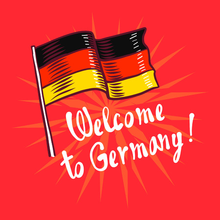 Welcome to germany concept background. Hand drawn illustration of welcome to germany concept background for web design