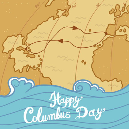 Columbus day concept background. Hand drawn illustration of columbus day concept background for web design 写真素材
