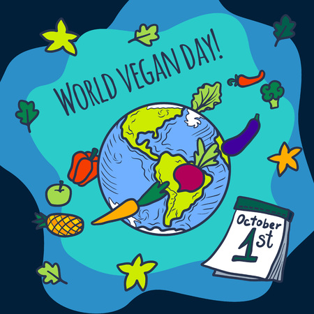 World vegan day concept background. Hand drawn illustration of world vegan day concept background for web design Stock Photo