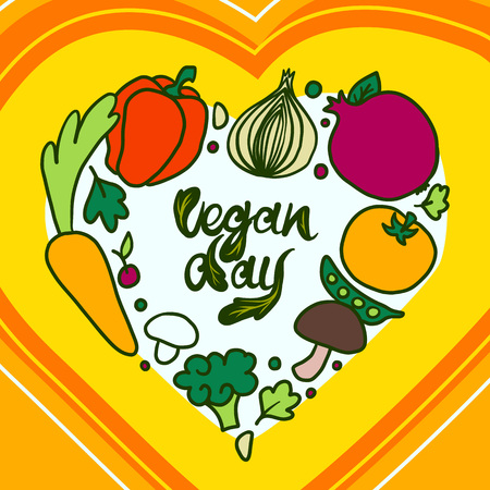 Happy vegan day concept background. Hand drawn illustration of happy vegan day concept background for web design Stock Photo