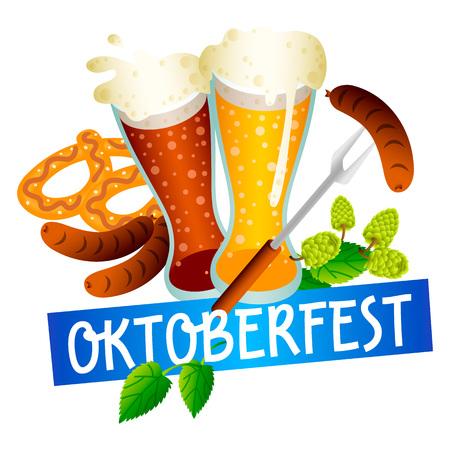Oktoberfest beer fest logo. Isometric of oktoberfest beer fest logo for web design isolated on white background