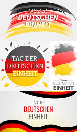 Happy deutschen Einheit banner set. Hand drawn set illustration of happy deutschen Einheit banner for web design