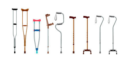 Crutches icon set. Realistic set of crutches icons for web design isolated on white background