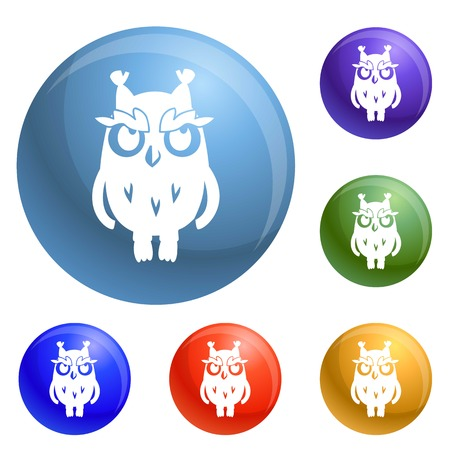 Owl icons set vector 6 color isolated on white background
