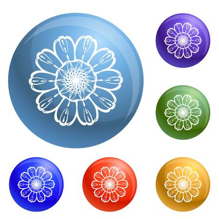 Top view calendula icons set vector 6 color isolated on white background Ilustracja