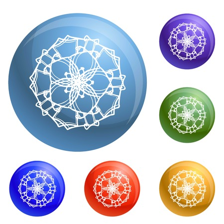 Abstract flower icons set vector 6 color isolated on white background Stock Illustratie