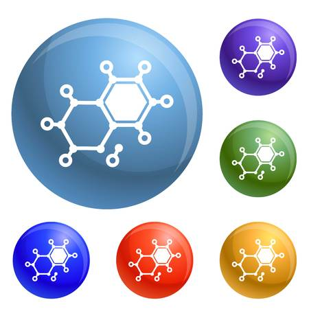 Chemical element molecule icons set vector 6 color isolated on white background