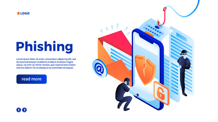 Personal data phishing concept background. Isometric illustration of personal data phishing vector concept background for web design