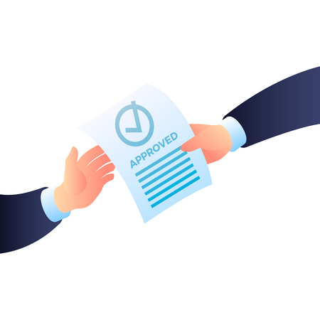 Two hand approved paper icon. Isometric of two hand approved paper vector icon for web design isolated on white background