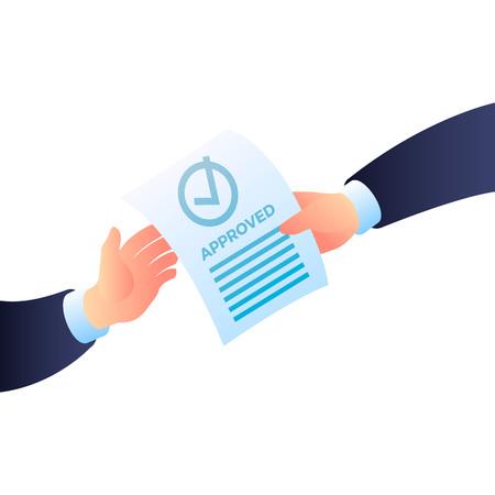 Zweihand genehmigtes Papiersymbol. Isometrische von zwei handgenehmigten Papiervektorikonen für Webdesign lokalisiert auf weißem Hintergrund