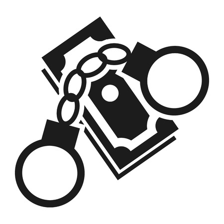 Bribery money handcuffs icon. Simple illustration of bribery money handcuffs vector icon for web design isolated on white background