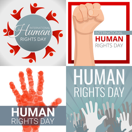 Rights day banner set. Cartoon illustration of rights day vector banner set for web design