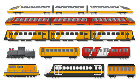 Subway train icon set. Cartoon set of subway train vector icons for web design Ilustração