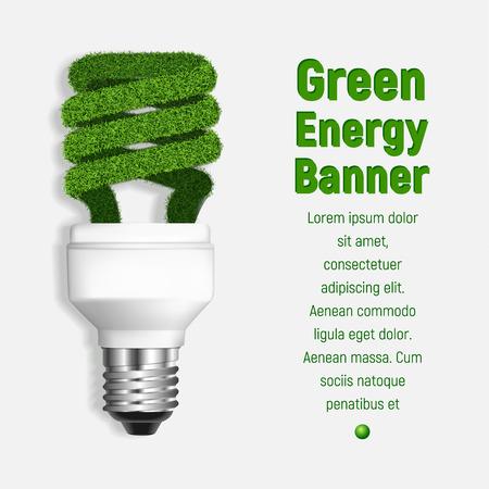 Grüner Energiekonzepthintergrund. Realistische Illustration des grünen Energievektorkonzepthintergrundes für Webdesign