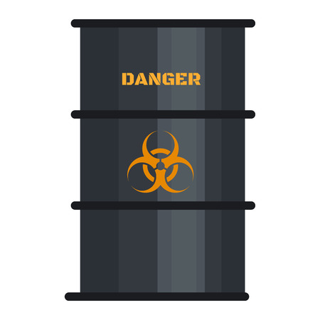 Biohazard black barrel icon. Flat illustration of biohazard black barrel vector icon for web design