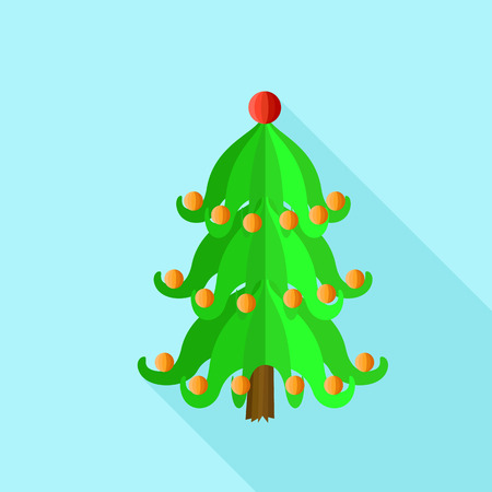 Festive xmas tree icon. Flat illustration of festive xmas tree vector icon for web design