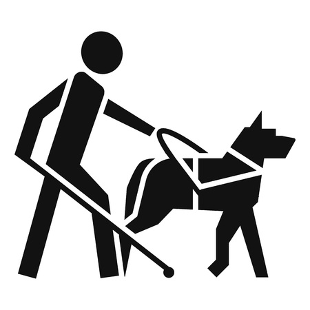 Blind boy dog guide icon. Simple illustration of blind boy dog guide vector icon for web design isolated on white background