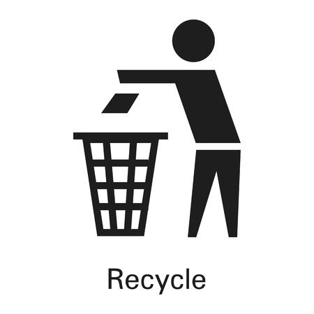Riciclare l'icona del cestino. Semplice illustrazione del cestino cestino icona vettoriali per il web design isolato su sfondo bianco