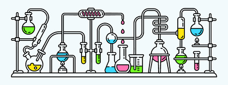Chemistry lab banner. Outline illustration of chemistry lab banner for web design Banque d'images