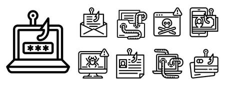 Phishing icon set. Outline set of phishing icons for web design isolated on white background Stockfoto
