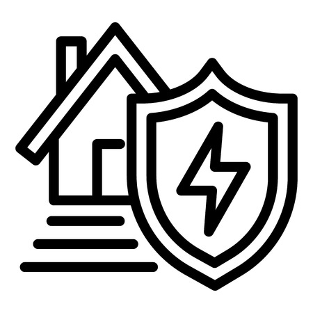 Energy house protect icon. Outline energy house protect icon for web design isolated on white background