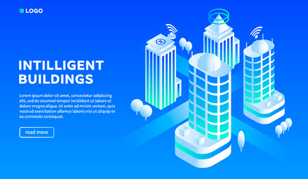 Intelligent building concept background. Isometric illustration of intelligent building concept background for web design