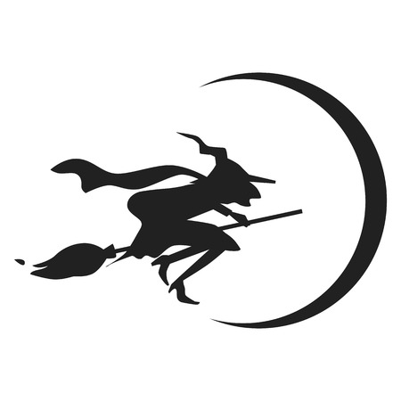 Witch on broom icon. Simple illustration of witch on broom icon for web design isolated on white background Stock fotó