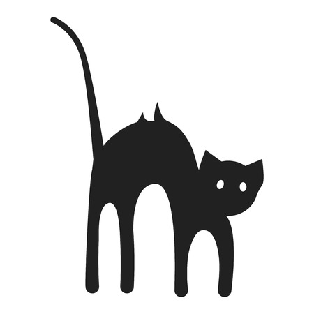 Scary cat icon. Simple illustration of scary cat icon for web design isolated on white background Stock Illustration - 111212703