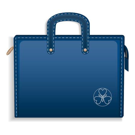 Blue leather case icon. Realistic illustration of blue leather case icon for web design Stock Photo