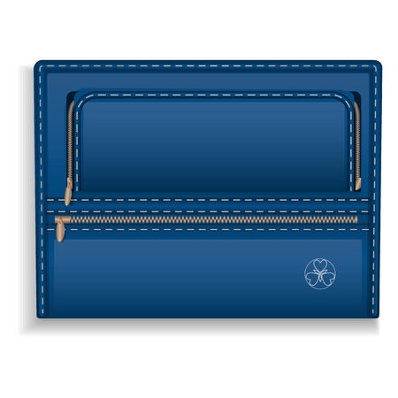 Blue leather folder icon. Realistic illustration of blue leather folder icon for web design Imagens