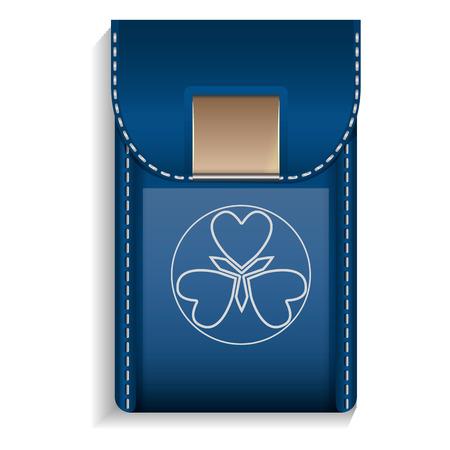 Leather mobile pocket icon. Realistic illustration of leather mobile pocket icon for web design Stock Photo