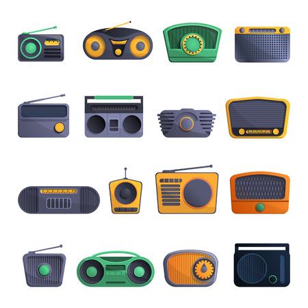 Radio icon set. Cartoon set of radio vector icons for web design